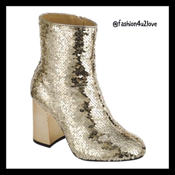 a2807a352d88 Gold Sequins Mirror Chunky Heel Booties